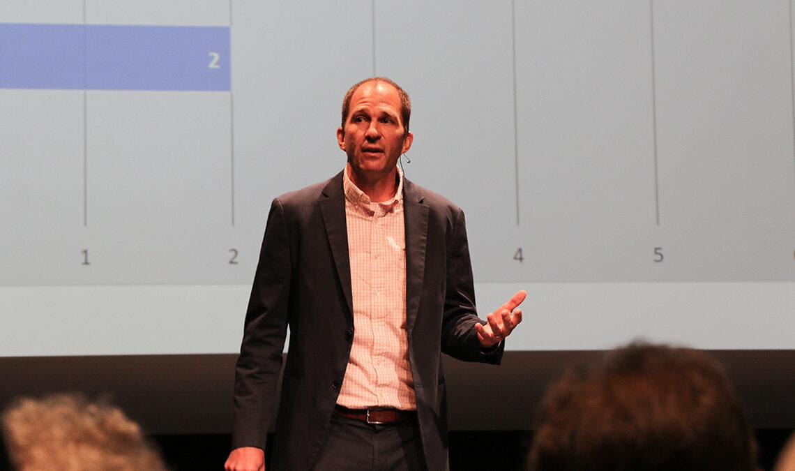 Zoltan Hajnal giving a speech in an event