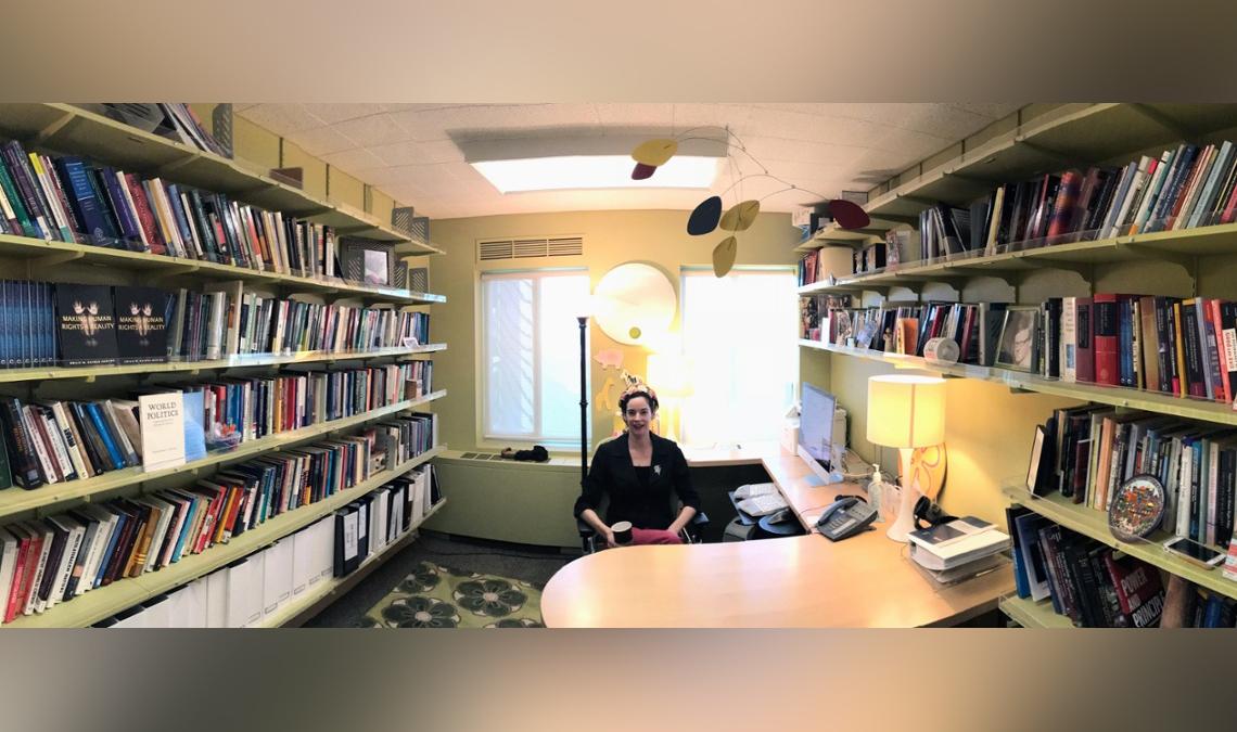 Emilie Hafner-Burton at her desk