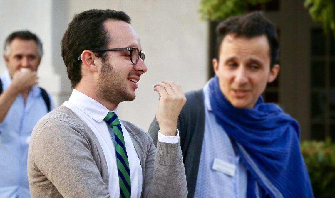 Juan Sebastian Herrera at a reception with Joaquin Gana