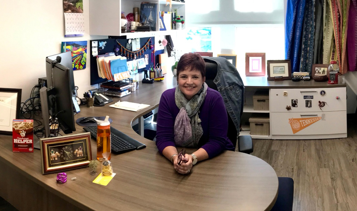 Stephanie Boomhower at her office desk