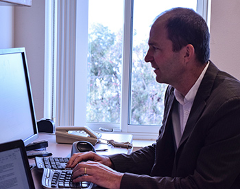 Zoltan Hajnal working on his research