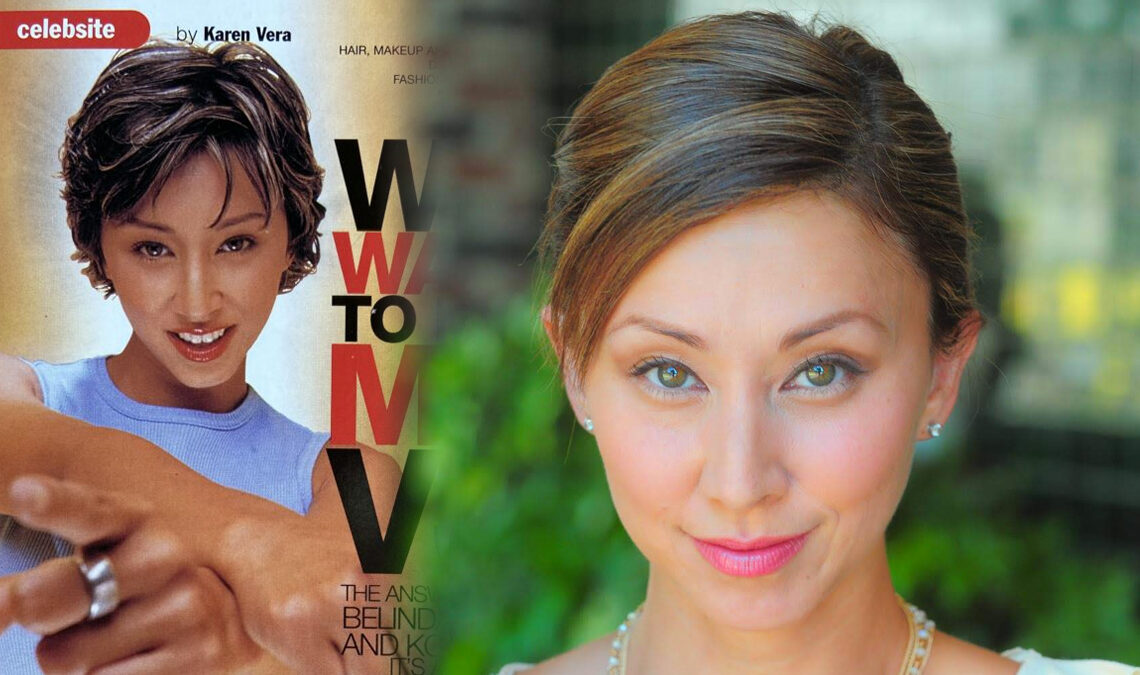 Composite image of Belinda Panelo from her MTV VJ days and a more recent portrait