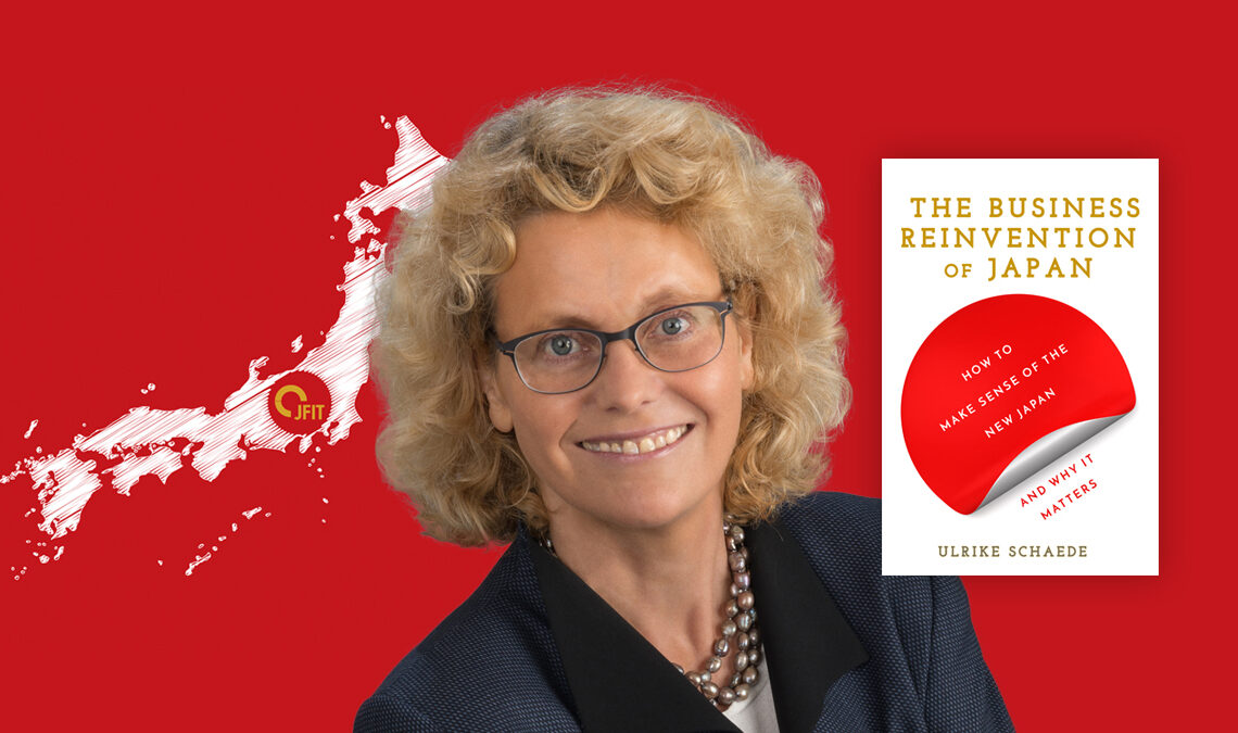 Composite image of Ulrike Schaede against a red background, with her book, and the Japan Zoominar graphic