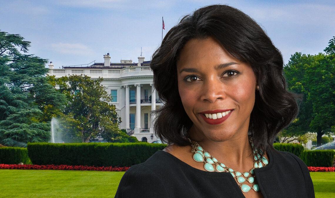 Renee Bowen against backdrop of White House