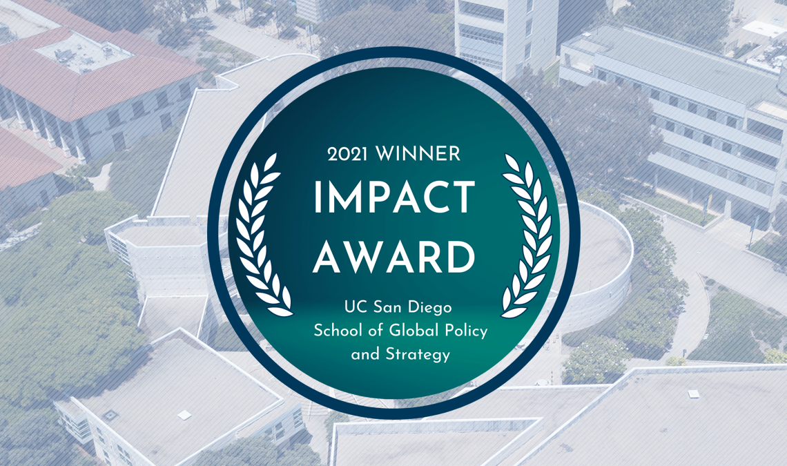 APSIA Impact Award graphic with the background of GPS's campus