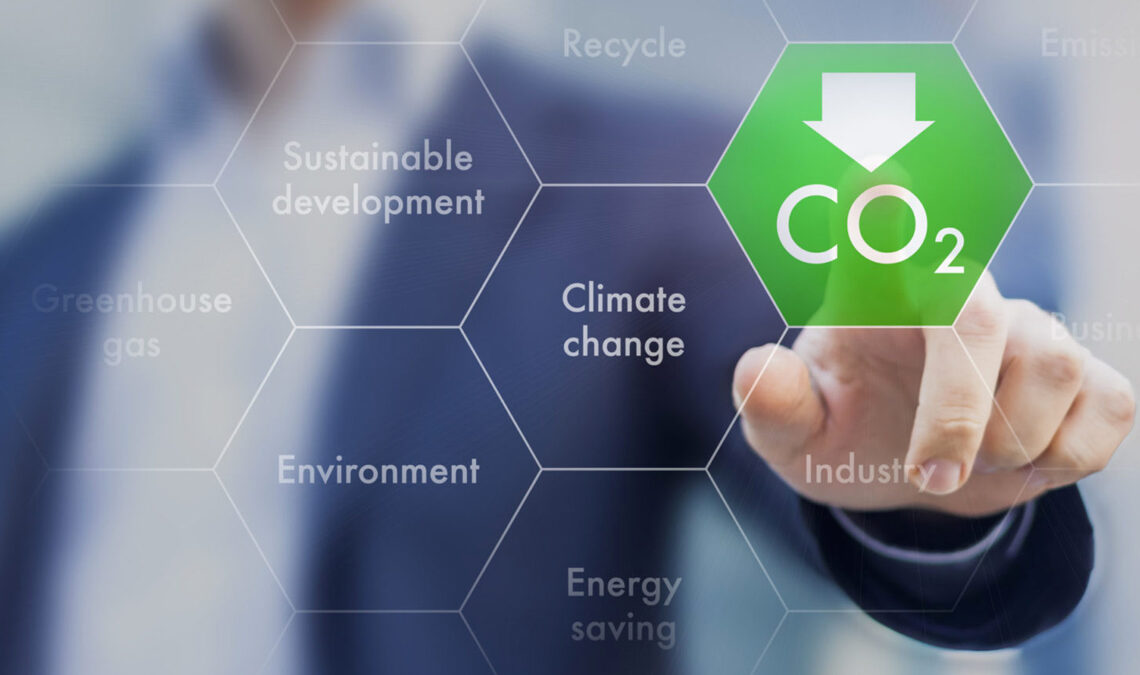 Foreground overlay with climate-related terms in hexagons, with a green one being pressed by a man (blurred in the background)